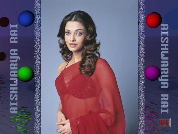 Aishwarya Rai Sexy Wallpaper In Red Transparent Saree