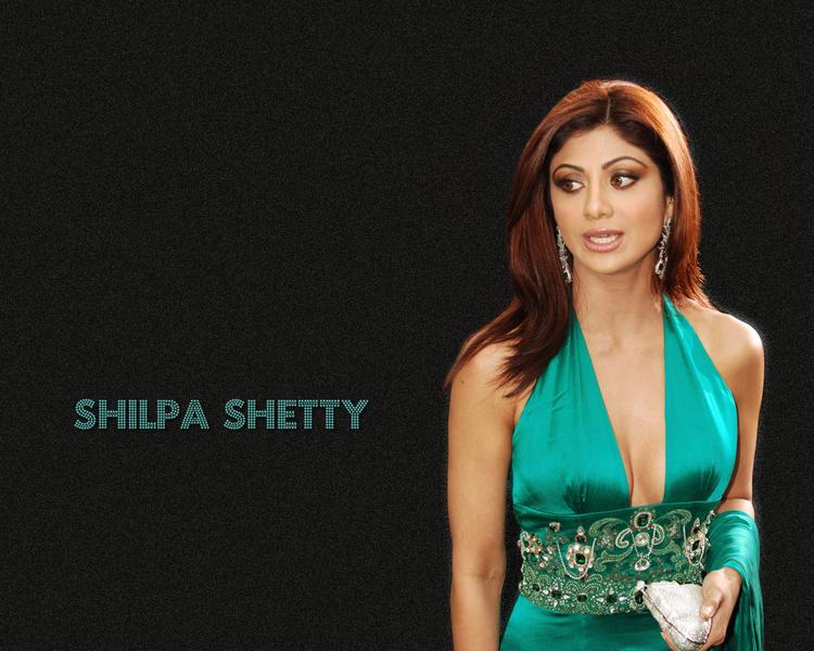 Shilpa Shetty Silky Hair and Green Dress Wallpaper