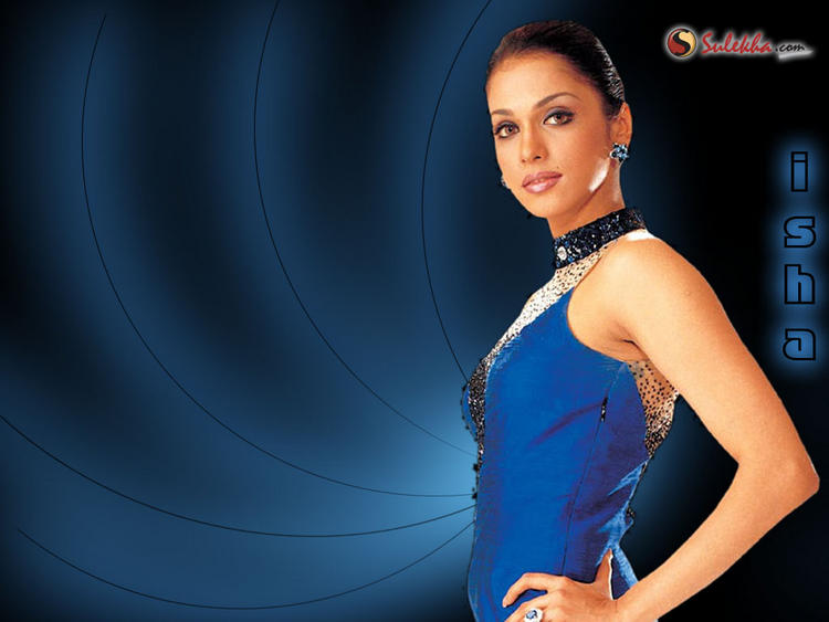 Isha Koppikar Blue Dress Hot Wallpaper