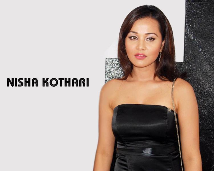 Nisha Kothari Tight Black Dress Wallpaper