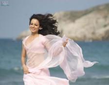 Kangana Ranaut Running Photo In Pink Saree