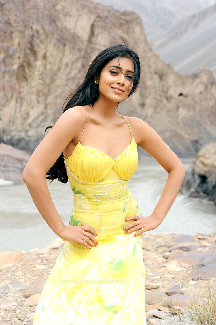 Shriya Saran Sexy Pose Still In Yellow Dress