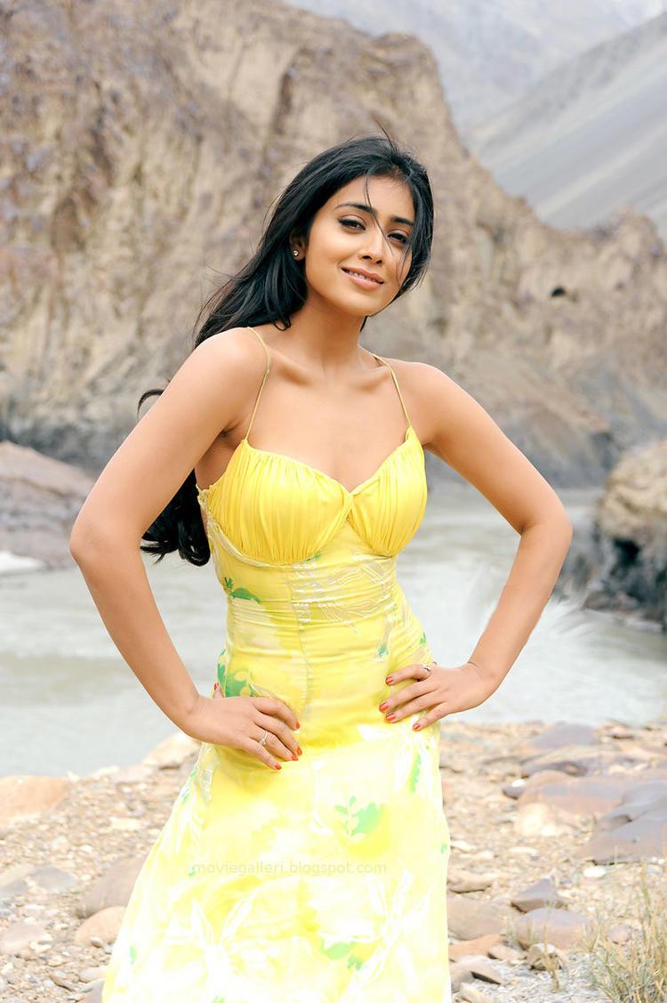 Shriya Saran Sexy Pose Still In Yellow Dress