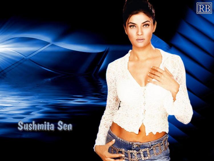 Sushmita Sen Glamour Wallpaper In Short Tops and Jeans