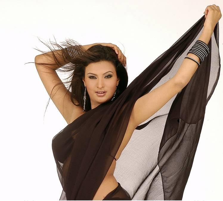 Sayali Bhagat Black Saree Sexy Still