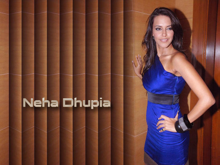 Neha Dhupia Blue Dress Hot Wallpaper
