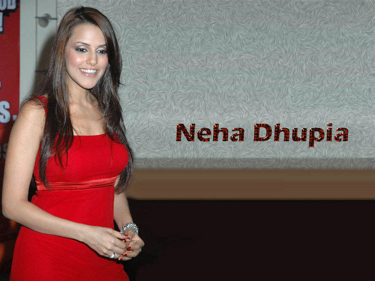 Neha Dhupia Red Sleeveless Dress Sweet Wallpaper