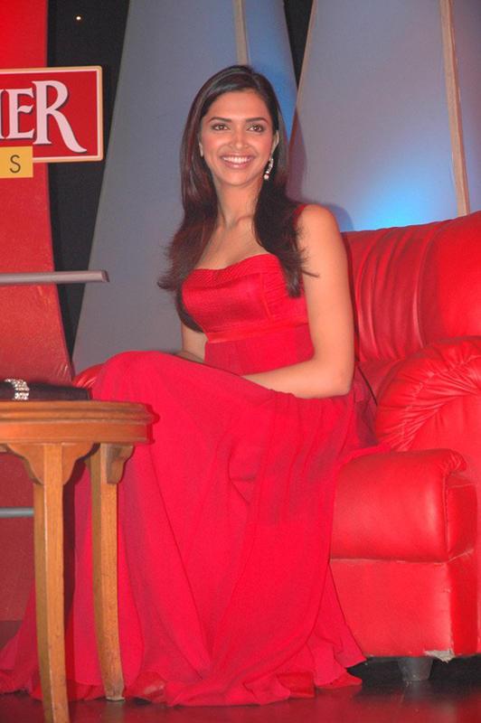 Deepika Padukone In Red Dress Gorgeous Pic