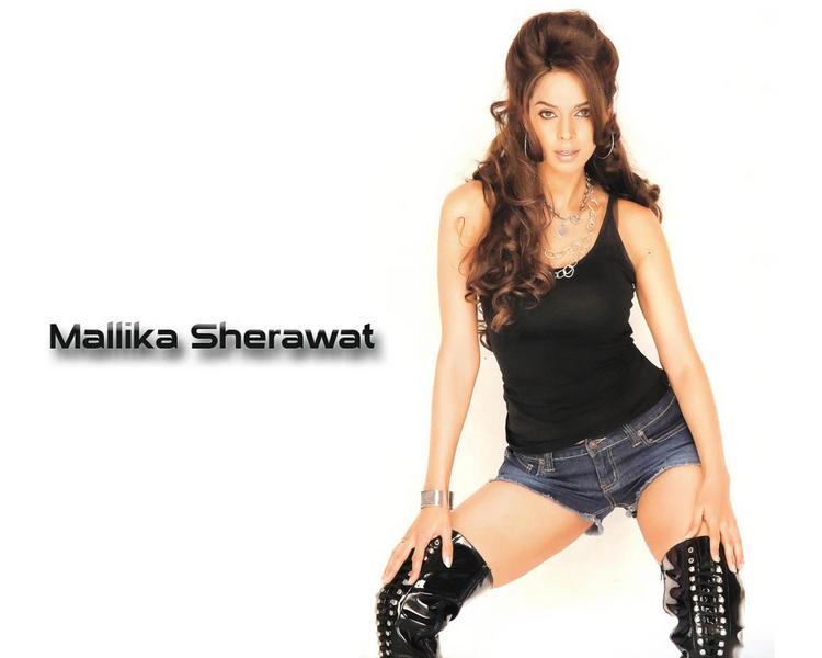 Mallika Sherawat In Mini Skirt Sexy Pose Wallpaper