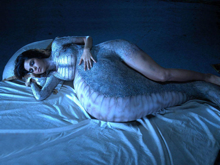 Mallika Sherawat Snake Woman Pose Still In Hiss