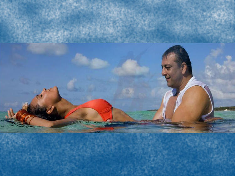 Lara Dutta with Sanjay Dutt In Blue
