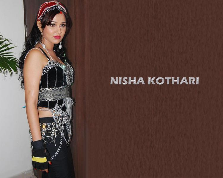 Nisha Kothari Sexy Black Dress Wallpaper