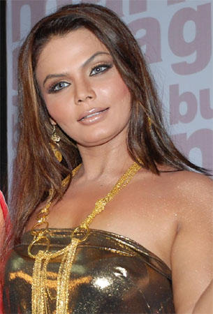 Rakhi Sawant Strapless Dress Glamour Still