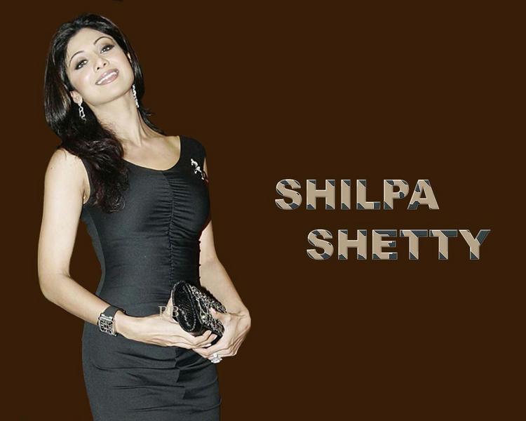Shilpa Shetty In Tight Black Dress Sexy Wallpaper