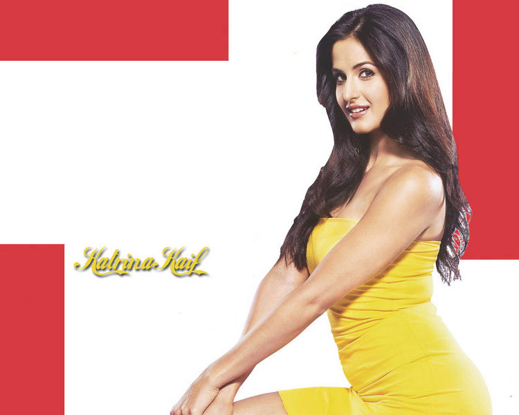 Katrina Kaif Yellow Dress Sexy Pose Wallpaper