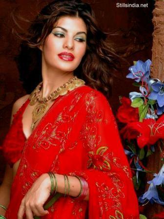 Jacqueline Fernandez In Red Saree Sexy Still