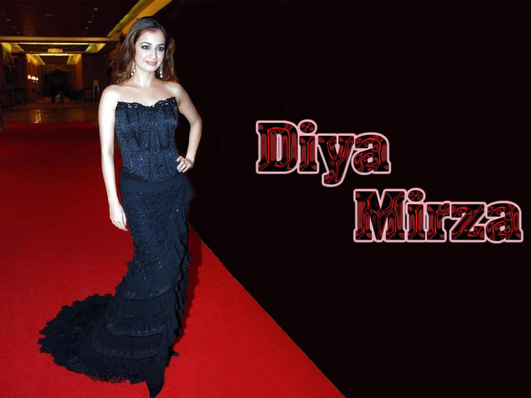 Diya Mirza Awesome Wallpaper In Beautiful Gown