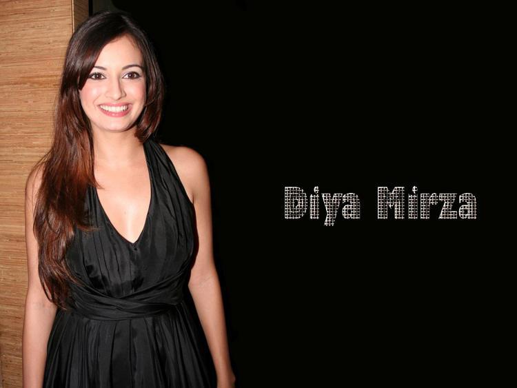 Diya Mirza Black Dress Attractive Fairy Face Still