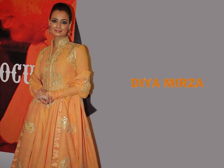 Diya Mirza Orange Color Dress Wallpaper