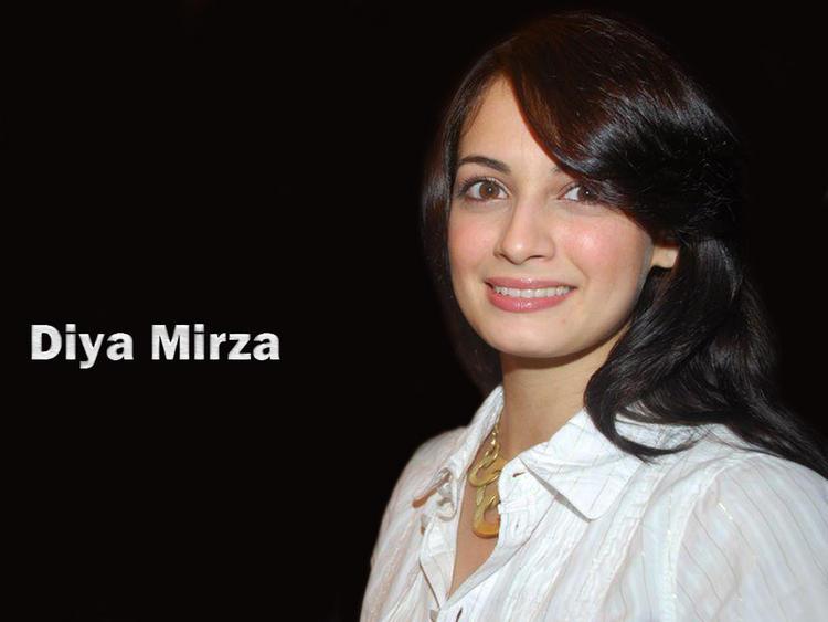 Diya Mirza Sweet Smile Pose Wallpaper