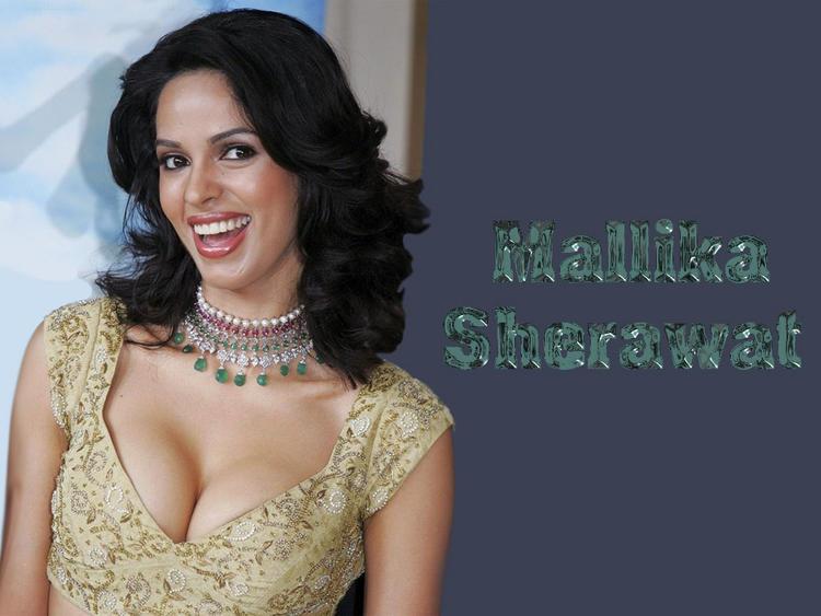 Mallika Sherawat Open Boob Hot Wallpaper