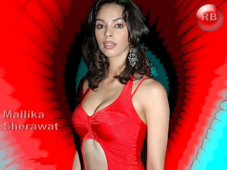Mallika Sherawat Red Dress Bold Wallpaper