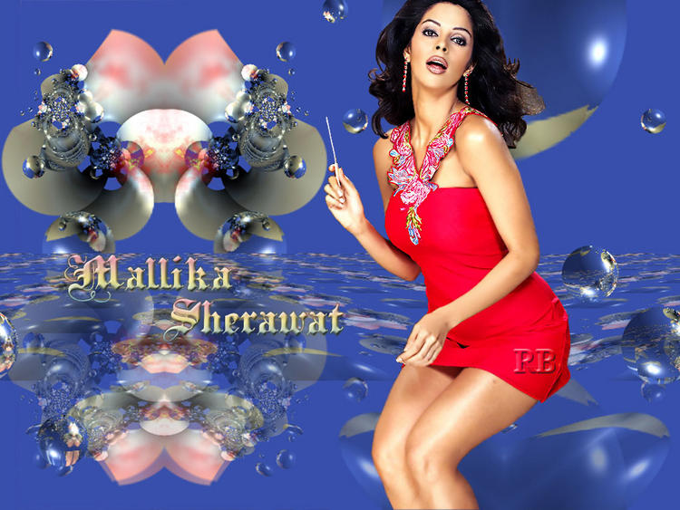 Mallika Sherawat Red Dress Sexy Pose Wallpaper