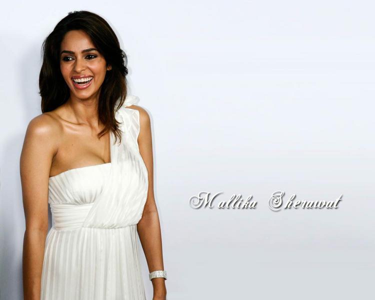 Mallika Sherawat White Dress Hot Wallpaper
