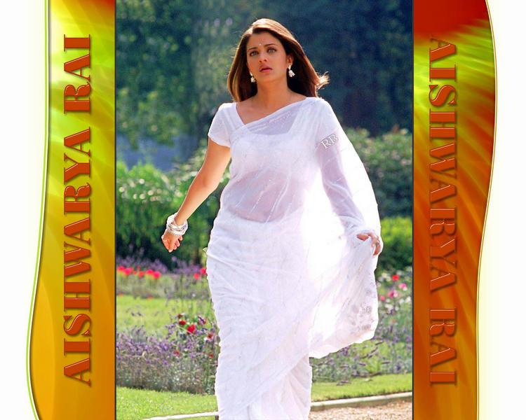 Aishwarya Rai Latest Wallpaper In White Saree
