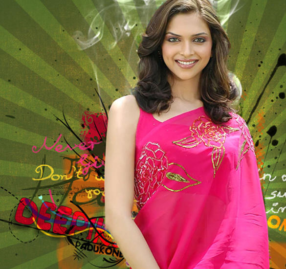 Deepika Padukone Sweet Wallpaper In Magenta Color Saree
