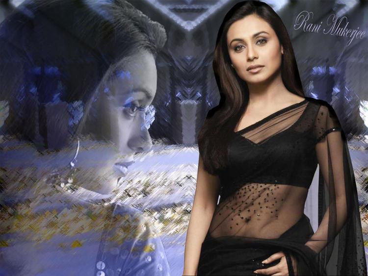 Rani Mukherjee Black Transparent Saree Beauty Still