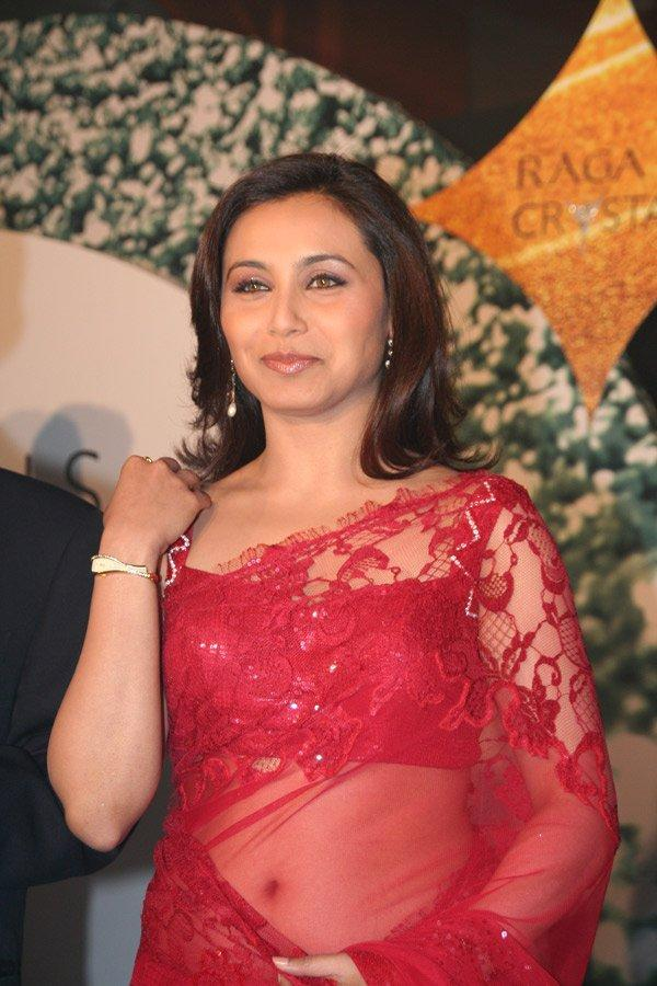 Rani Mukherjee Red Net Saree Pic