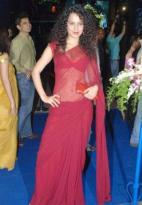 Kangana Ranaut  in Red Transparent Saree Still