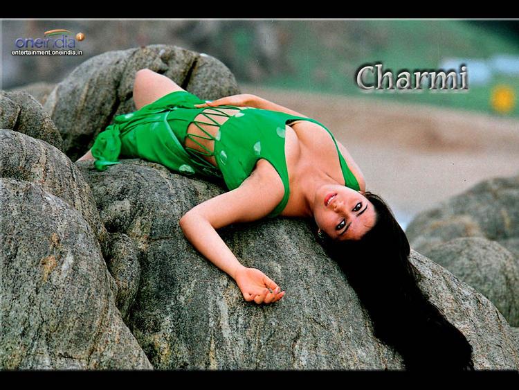 Charmy Kaur Sexy Boob Show Wallpaper