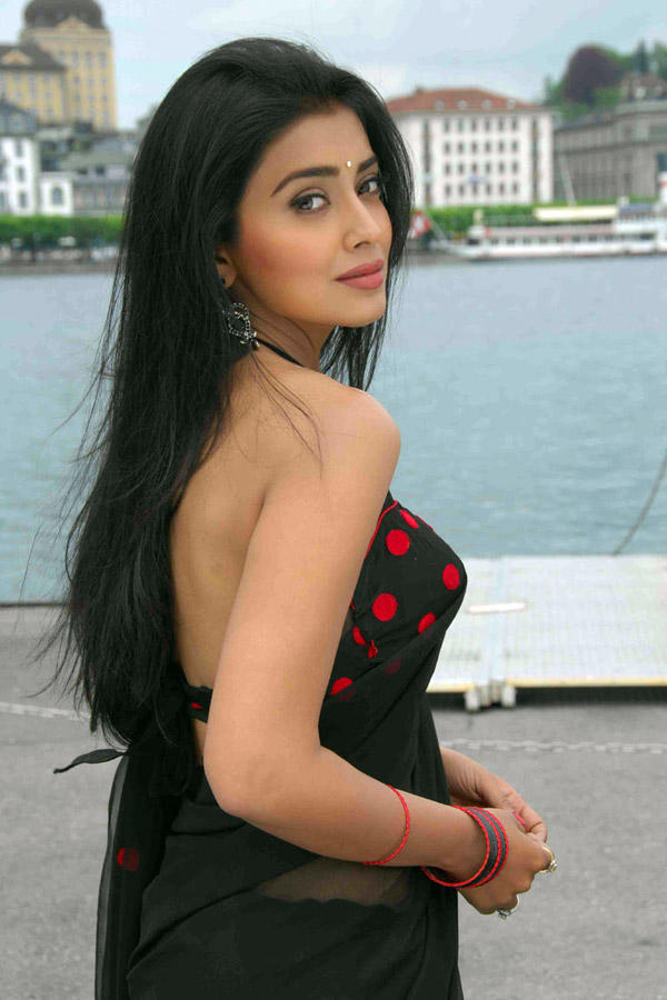Shriya Saran Black Saree Beauty Still