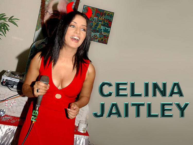 Celina Jaitley Red Dress And Smiling Wallpaper