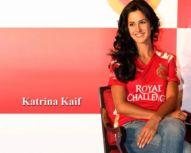 Katrina Kaif Wearing Royal Challengers Jersey Wallpaper