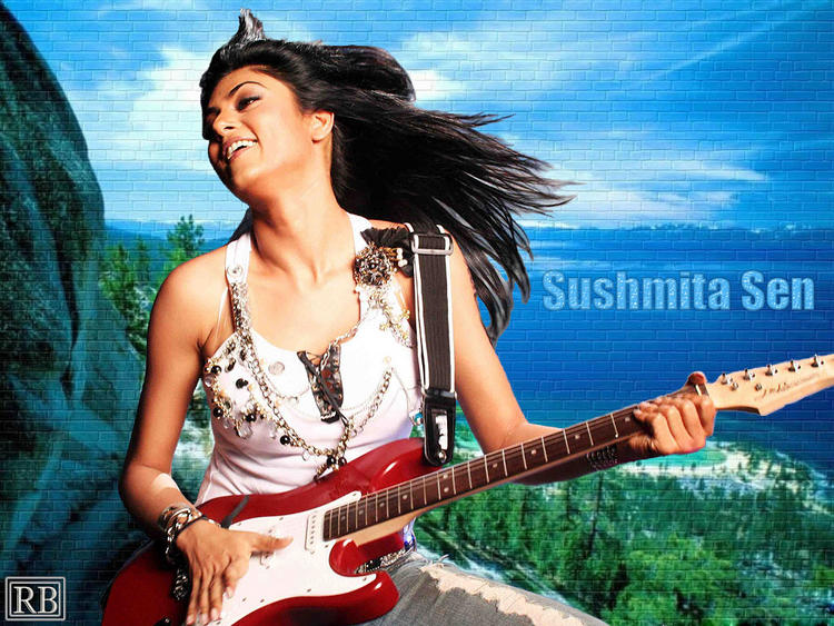 Sushmita Sen Latest Wallpaper With Guitar
