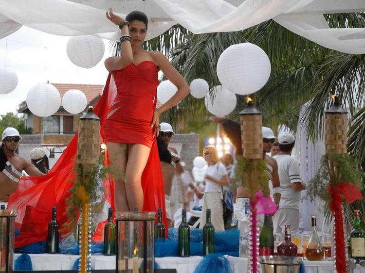 Deepika Padukone Red Dress Sexy Still