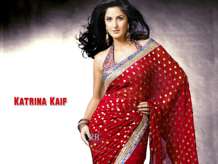 Katrina Kaif Looking Beautiful In Red Gorgeous Saree