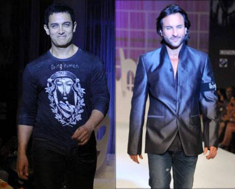 Aamir Khan and Saif at Fashion Show