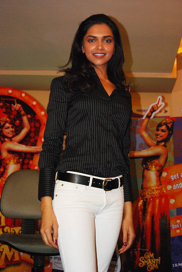 Deepika Padukone Hot Still With Black Shirt and Jeans