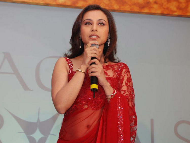 Rani Mukherjee In Red Transparent Saree Still