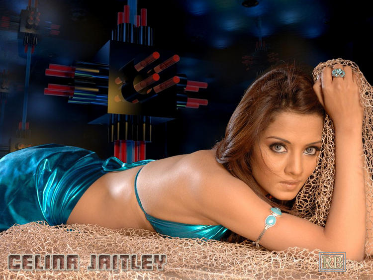 Celina Jaitley Sleeping Pose Sexy Wallpaper