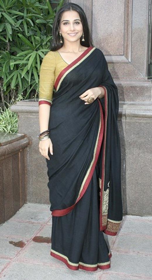 Vidya Balan In Black Saree Glorious Pic