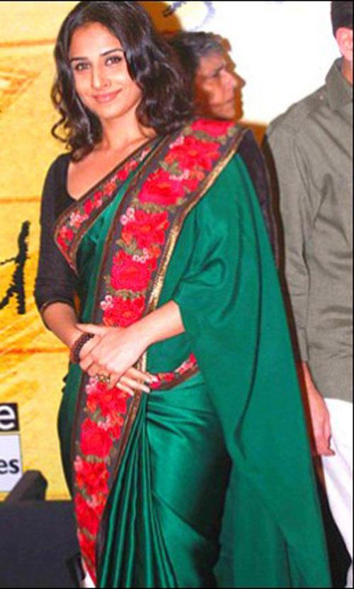 Vidya Balan In Green Saree Glamour Still