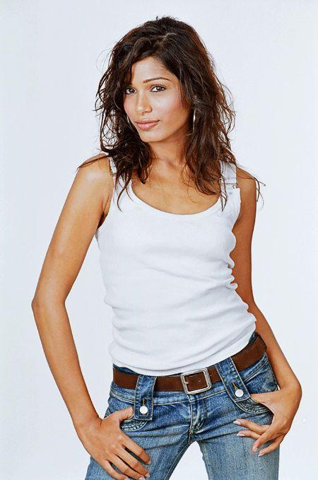 Freida Pinto Sexy Pose With White T Shirt and Jeans