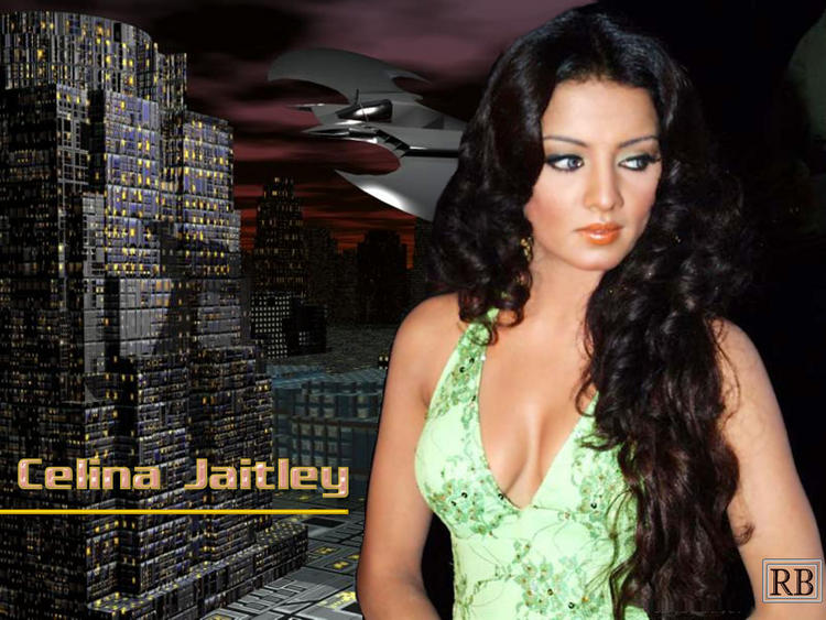 Celina Jaitley Curly Hair Style Sizzling Look Wallpaper