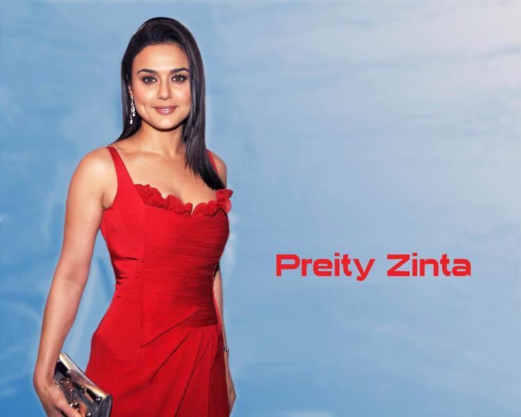 Preity Zinta Red Dress Gorgeous Wallpaper