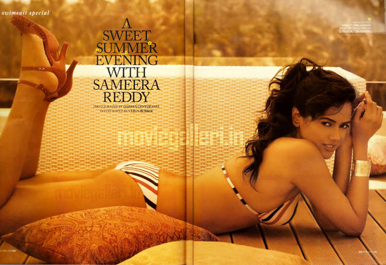 Sameera Reddy Sleeping Pose Hot Wallpaper